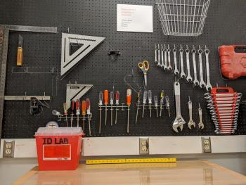 An image of the tool wall in the ID lab