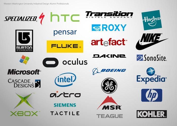 A picture of company logos that employ ID graduates including NIke, HP, Xbox, and Microsoft