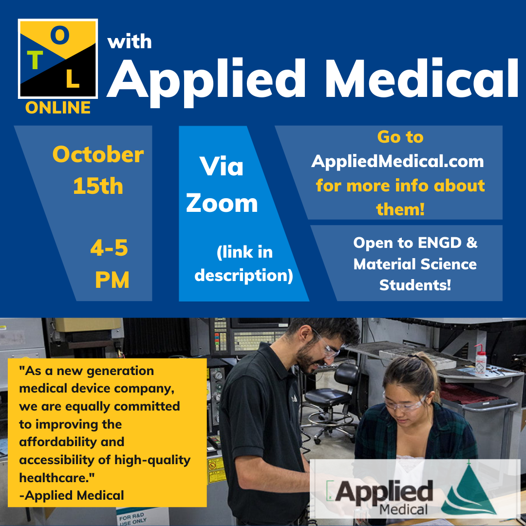 a flier about the applied medical outside the lab talk